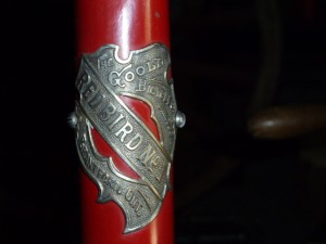 "The ""Head Badge"" on the 1895 Red Bird no.1 shaft drive bicycle."
