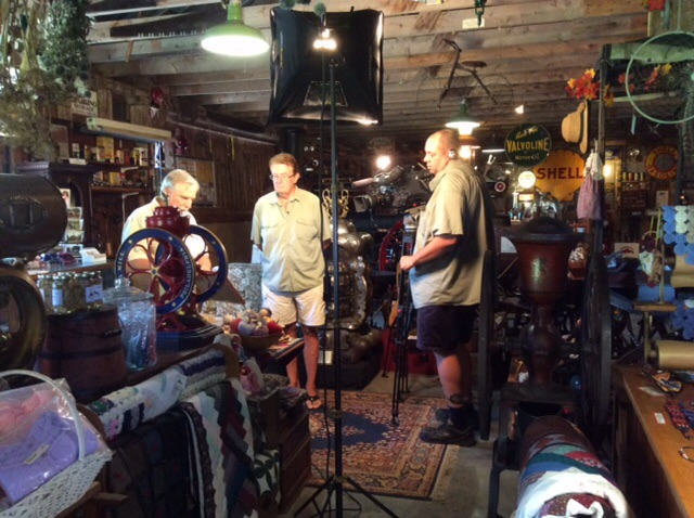"Filming an episode of ""Around the Town"" for TVCOGECO"
